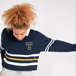 NWT Tommy Jeans Crop Boyfriend Rugby Top Size XS